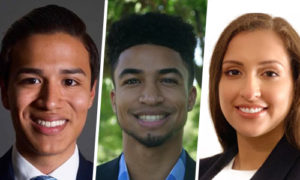 Headshots of George Villacis, Greg Paredes, Diana Villanueva