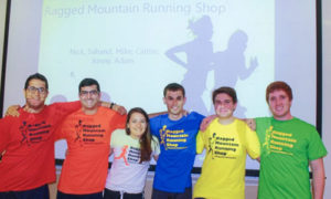 Members of the Ragged Mountain Running Shop project team after their final presentation. Photo provided courtesy of Mark Lorenzoni.