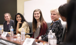 Carol Sawdye (McIntire '85), Chief Operating Officer, PwC Network, discussed career paths, leadership opportunities, and diversity and inclusion initiatives at PwC with female students at a luncheon during the spring semester.